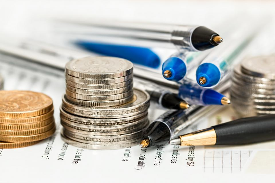 money, coins, cash, finance, business, pens, paper, objects, office, desk