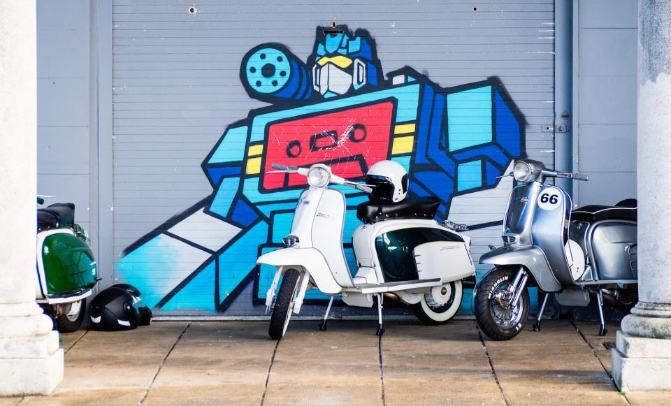 art, paint, graffiti, motorcycles, wall