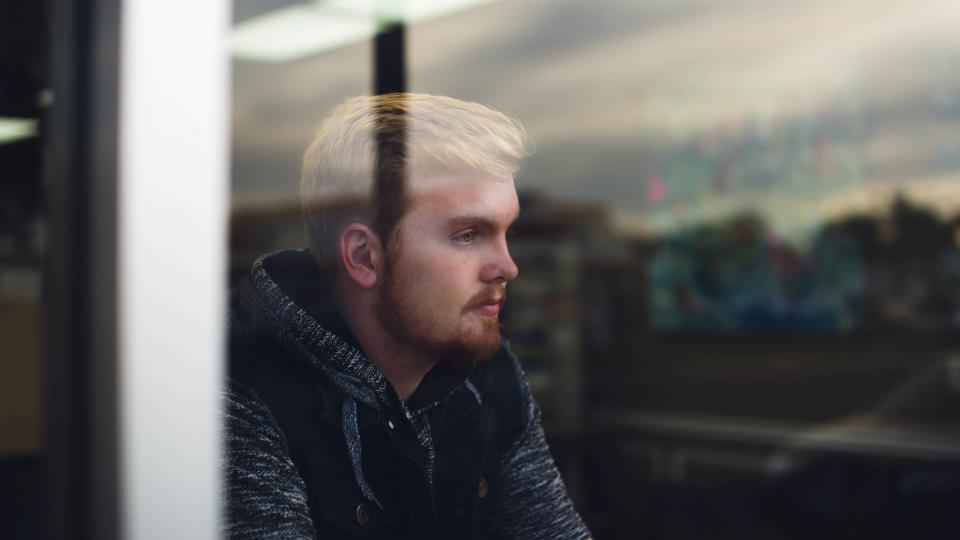 people, man, guy, male, thinking, alone, sad, glass, hoodie, jacket, window, reflection
