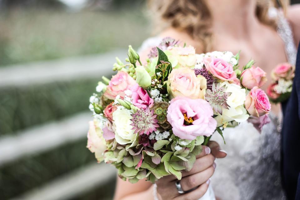 flower, bouquet, petal, people, woman, bride, wedding, ring, gown