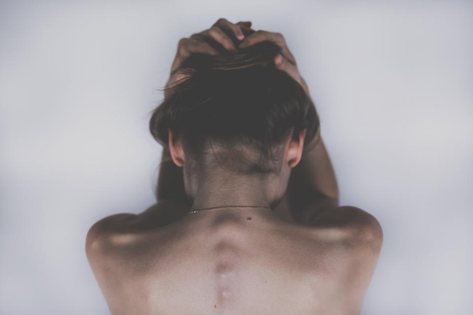 woman girl lady people body anatomy hands head spine shoulders back nape hair skin art photography sad beauty