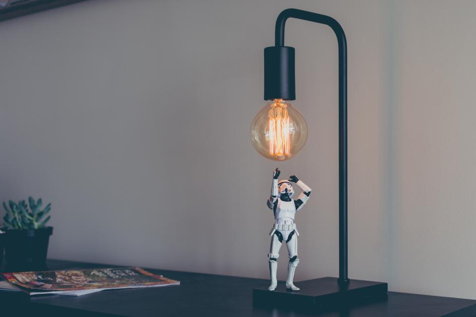 star wars, storm trooper, costumer, figure, action figure, bulb, light, spark, table