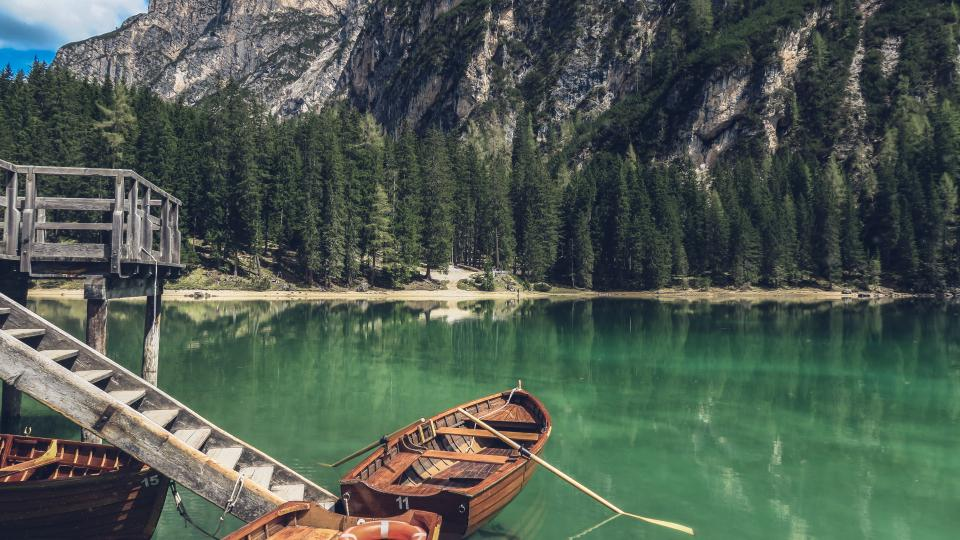 nature, landscape, mountains, forests, trees, vegetation, water, coast, shore, lake, river, reflection, dock, wood, stairs, boats, paddles
