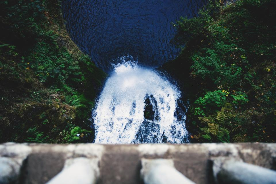 water, falls, river, lake, woods, forest, green, blue, travel, adventure, aerial