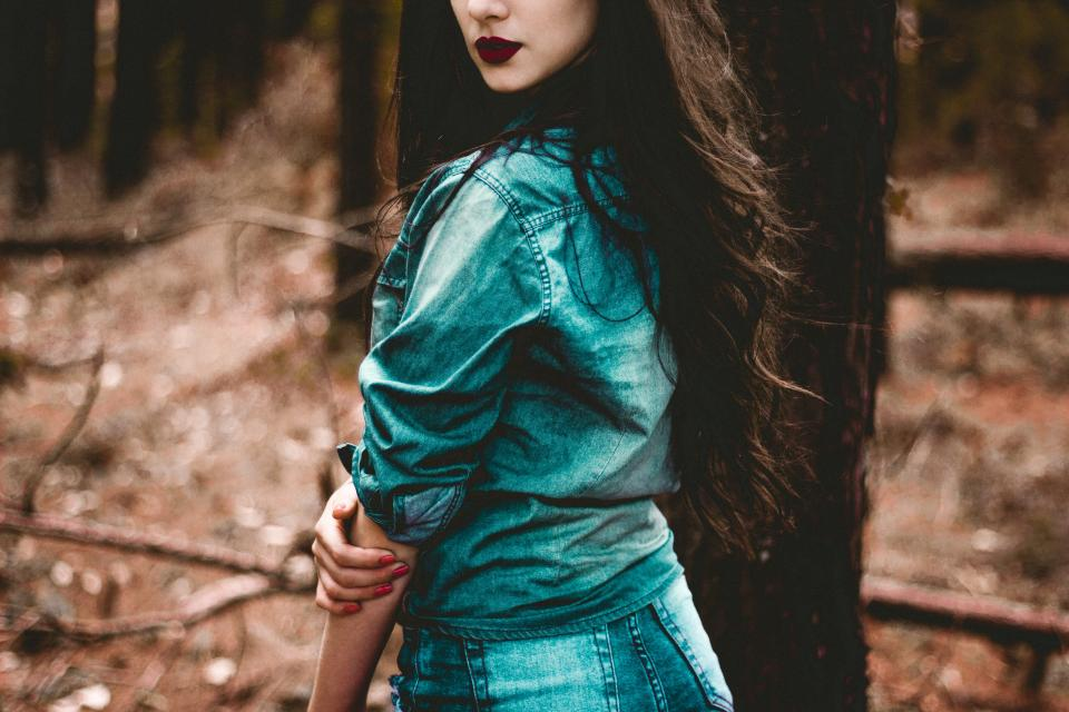 girl, woman, lady, model, fashion, forest, denim, bokeh, people, photoshoot