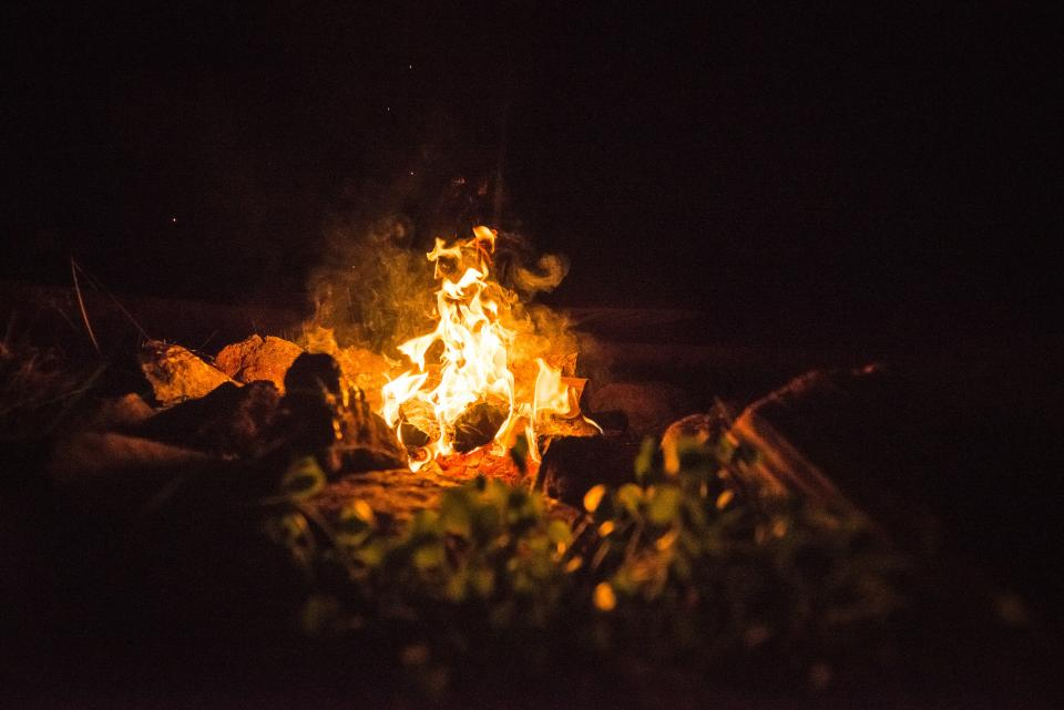 fire, dark, night, camping, travel, adventure, spark