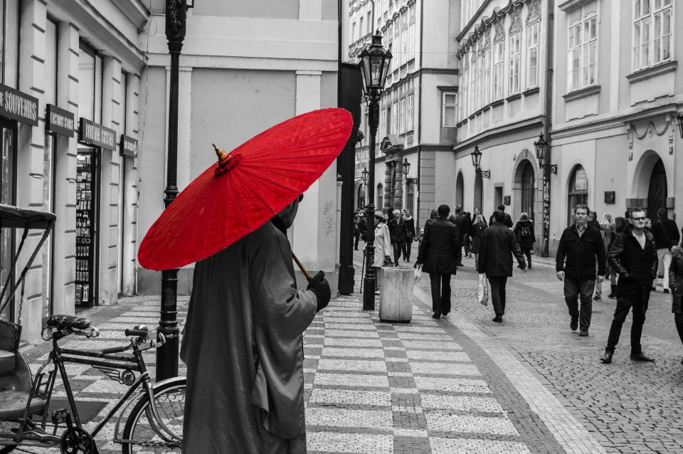 Architecture Building Infrastructure Red Umbrella Black And