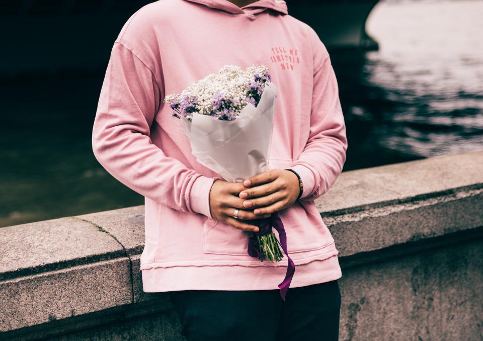 people, man, valentines, flowers, bouquet, hoodie, jacket, pink, sweet, couple, love, gift