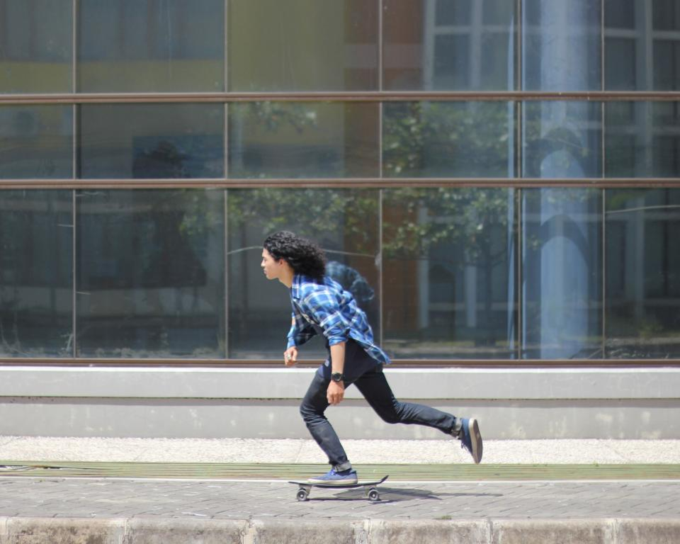 skateboard, people, guy, skateboarding, sport, footwear, street, sidewalk, building, glass