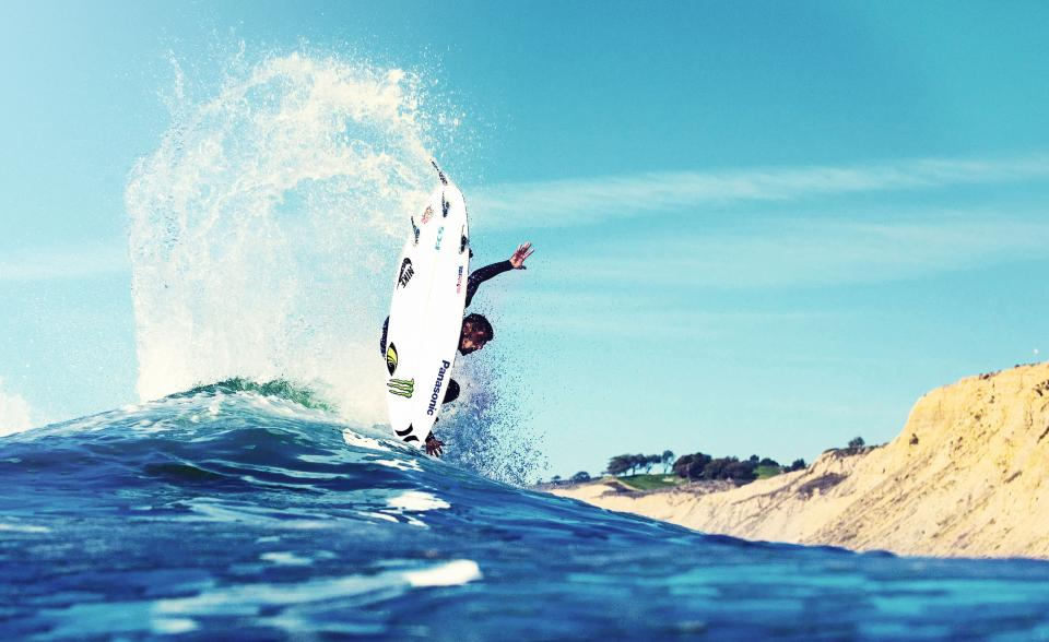 sea, ocean, water, waves, nature, highland, mountain, landscape, blue, sky, clouds, people, man, sport, fitness, surfing, adventure