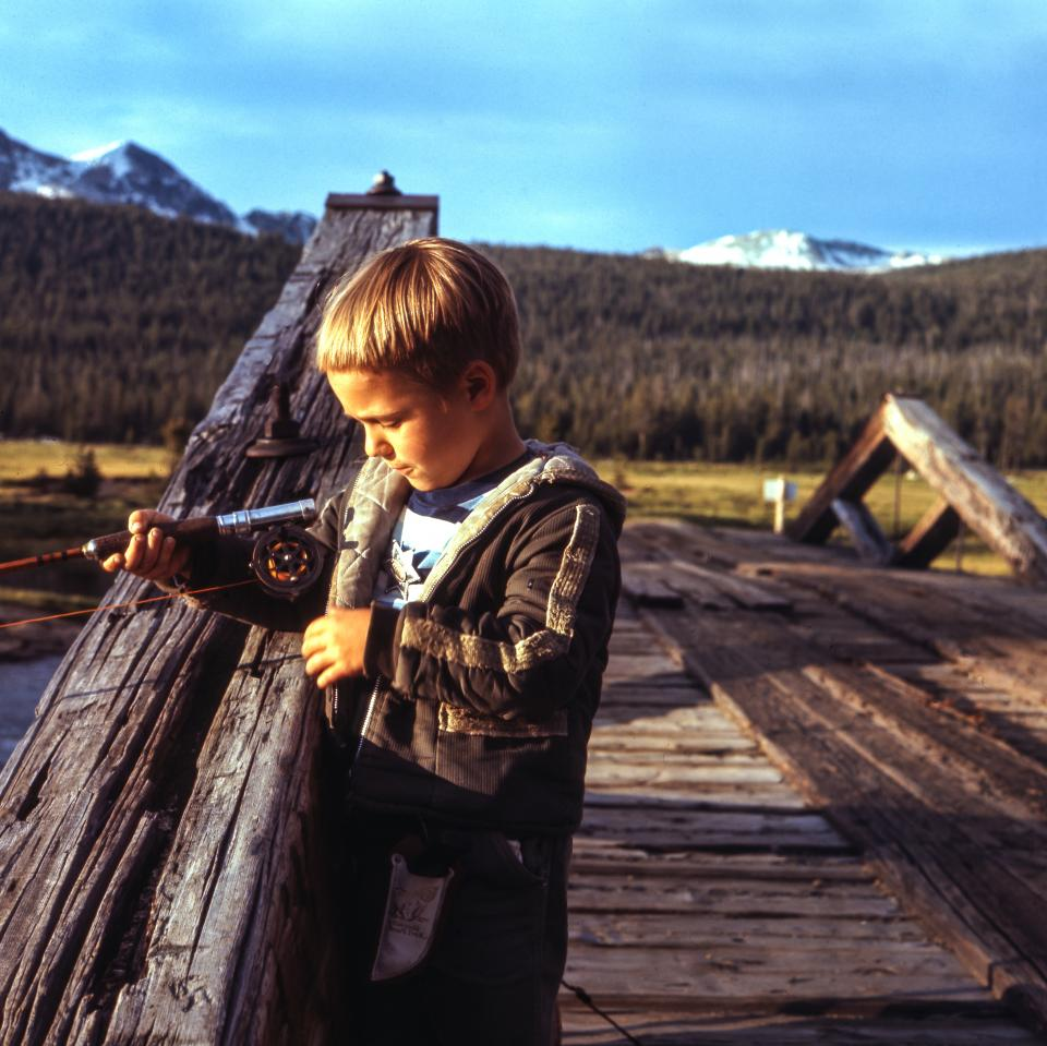 wooden, bridge, fishing, people, kid, boy, child, outdoor, nature, trees, plant, mountain