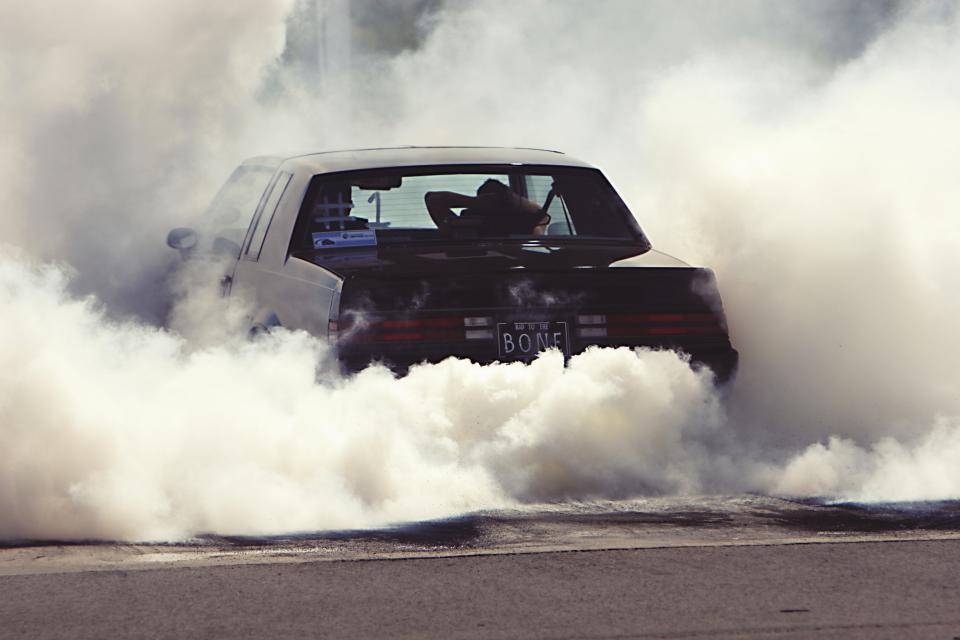 burnout car drag racing smoke tires rubber asphalt automotive