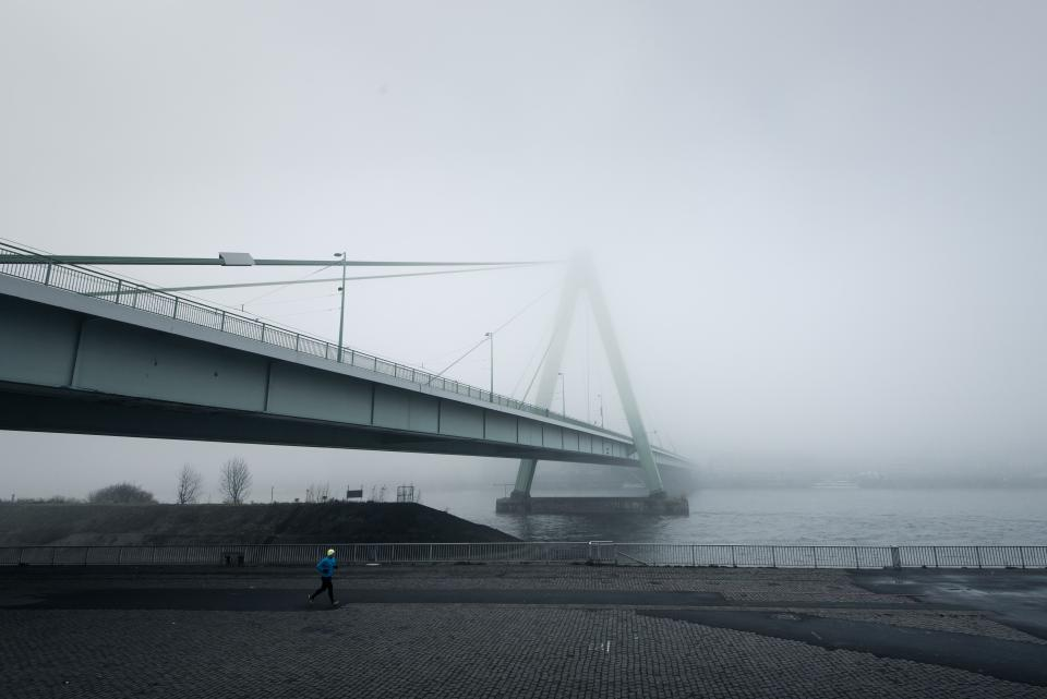 architecture, bridge, infrastructure, fog, cold, weather, road, people, man, alone, jogging, exercise, fitness, health, sea, water