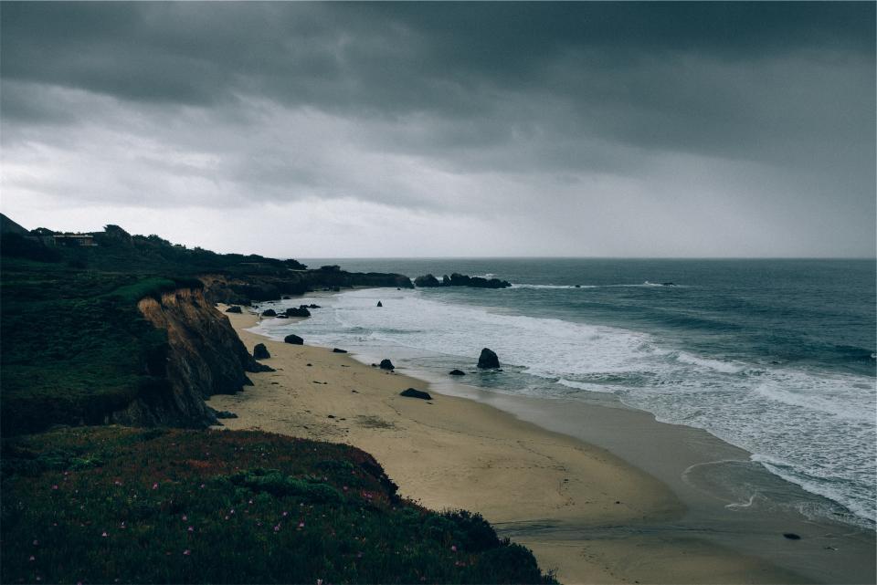 beach, sand, shore, waves, water, ocean, sea, storm, cloudy, grey, sky, coast