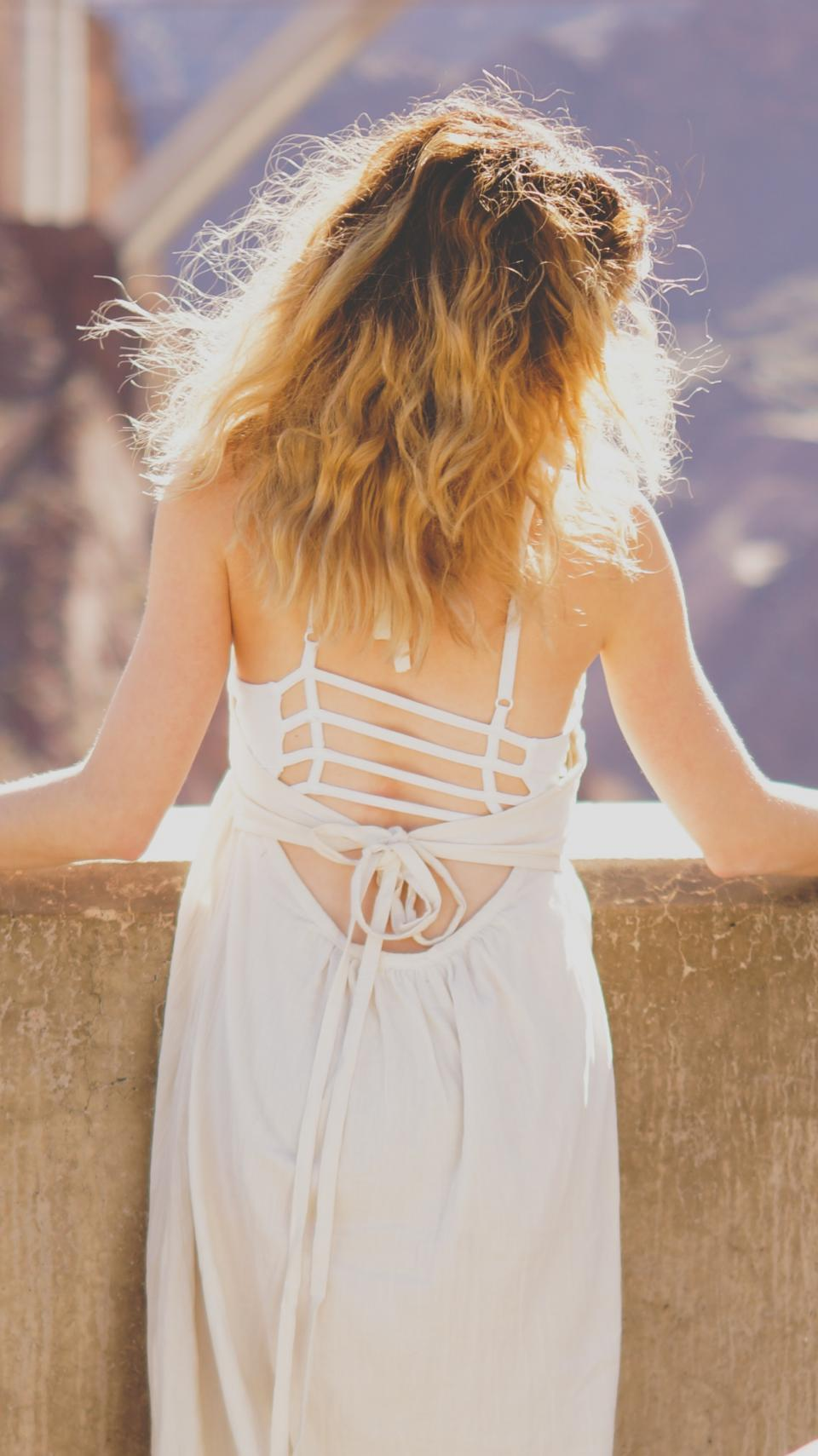 people, woman, girl, female, alone, sexy, long, white, dress, back, sunny, day