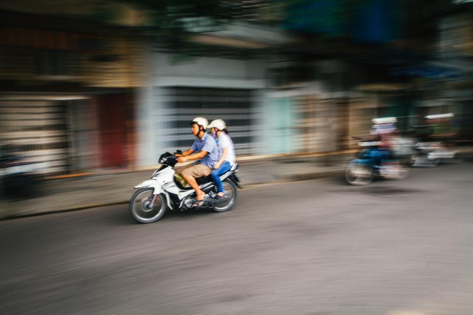 people, woman, man, ride, motorcycle, road, street, speed, fast, outdoor, transportation, travel