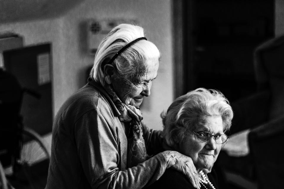 people old women grandmother black and white friend family