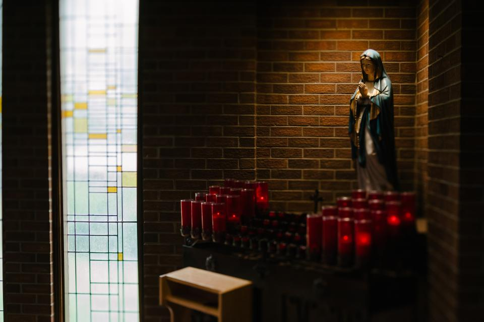 church, chapel, wall, mother, mary, statue, worship, catholic, pray, rosary, candle, light, bench
