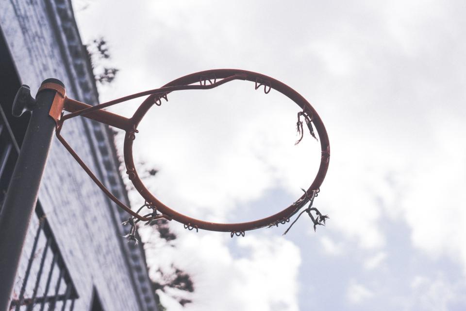 basketball, hoop, net, rim, sports, sky, clouds, court