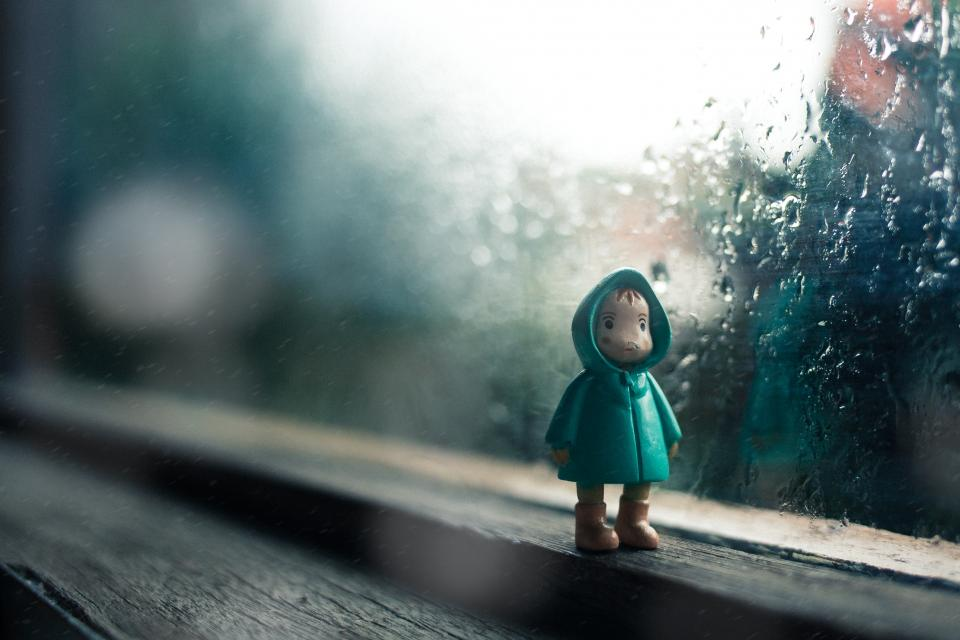 rain, drops, water, glass, toy, figure, jacket, kid, sad, child