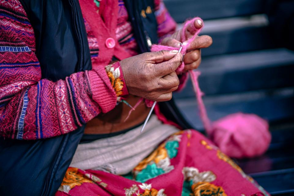 people, woman, old, stitch, wool, pink, hobby