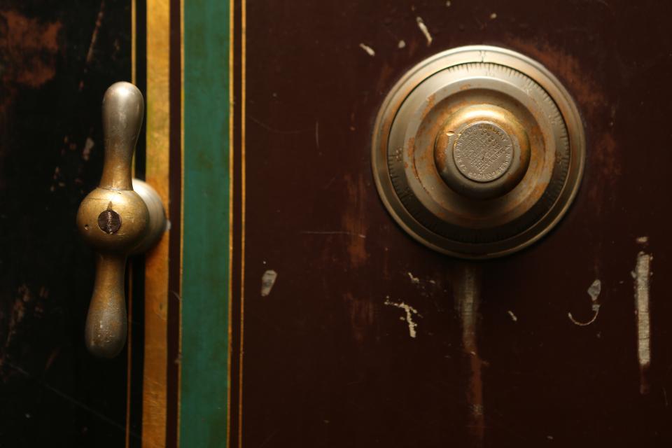 safe vault combination lock door handle brass