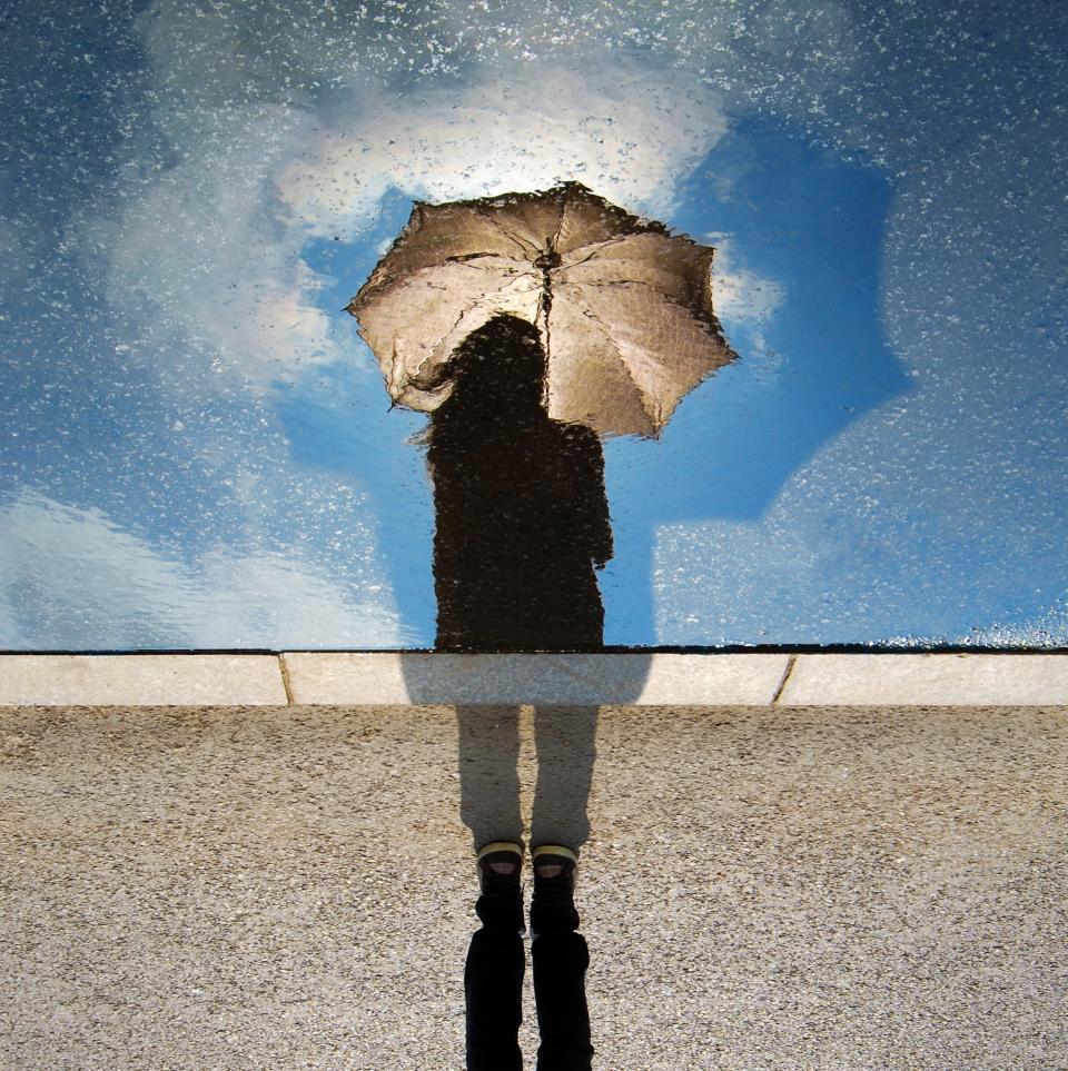 creative, people, woman, sunny, umbrella, water, pool, shadow, reflection, summer