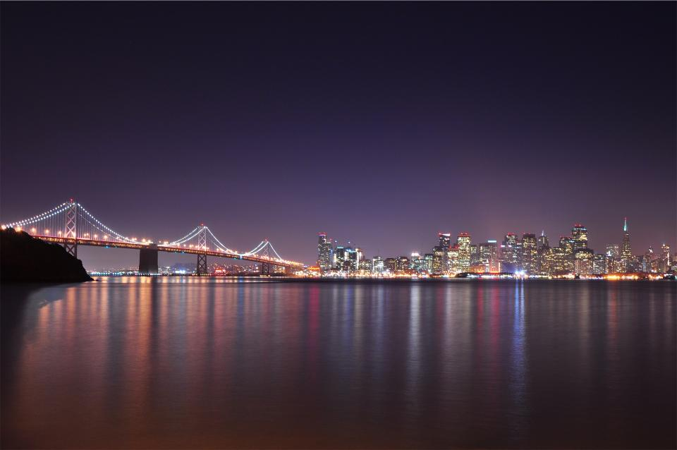 Bay Bridge, architecture, water, reflection, ocean, sea, buildings, lights, skyline, towers, high rises, city, San Francisco, USA, United States