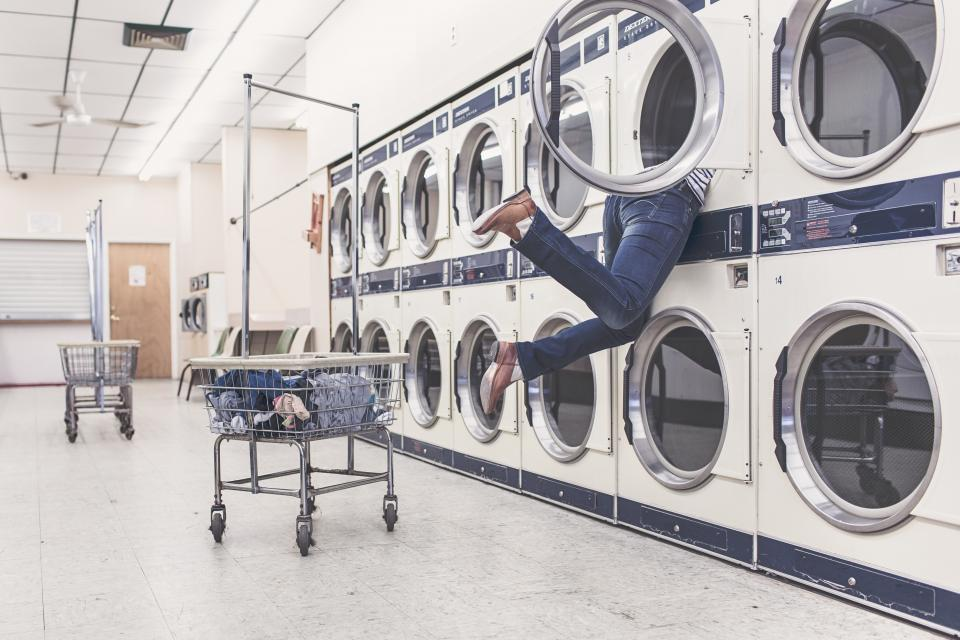 laundry laundromat washing machine dryer clothes dirty shoes jeans pants