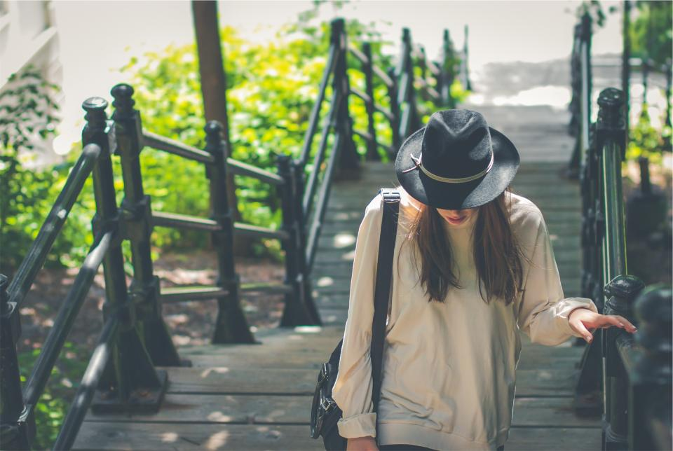 young girl woman long hair brunette people fashion clothes hat fedora shirt bag railing wood steps beauty