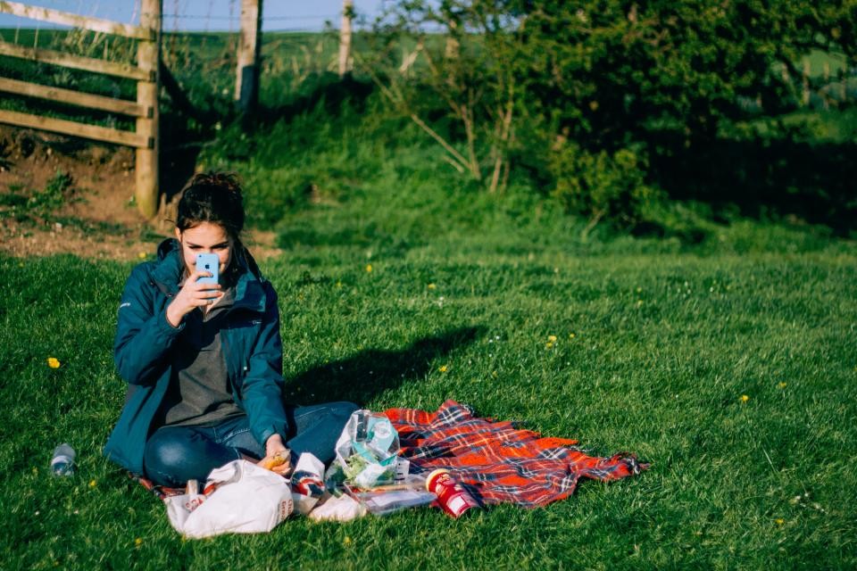 nature, grass, plants, people, girl, lady, woman, iphone, picnic, photography, millenials