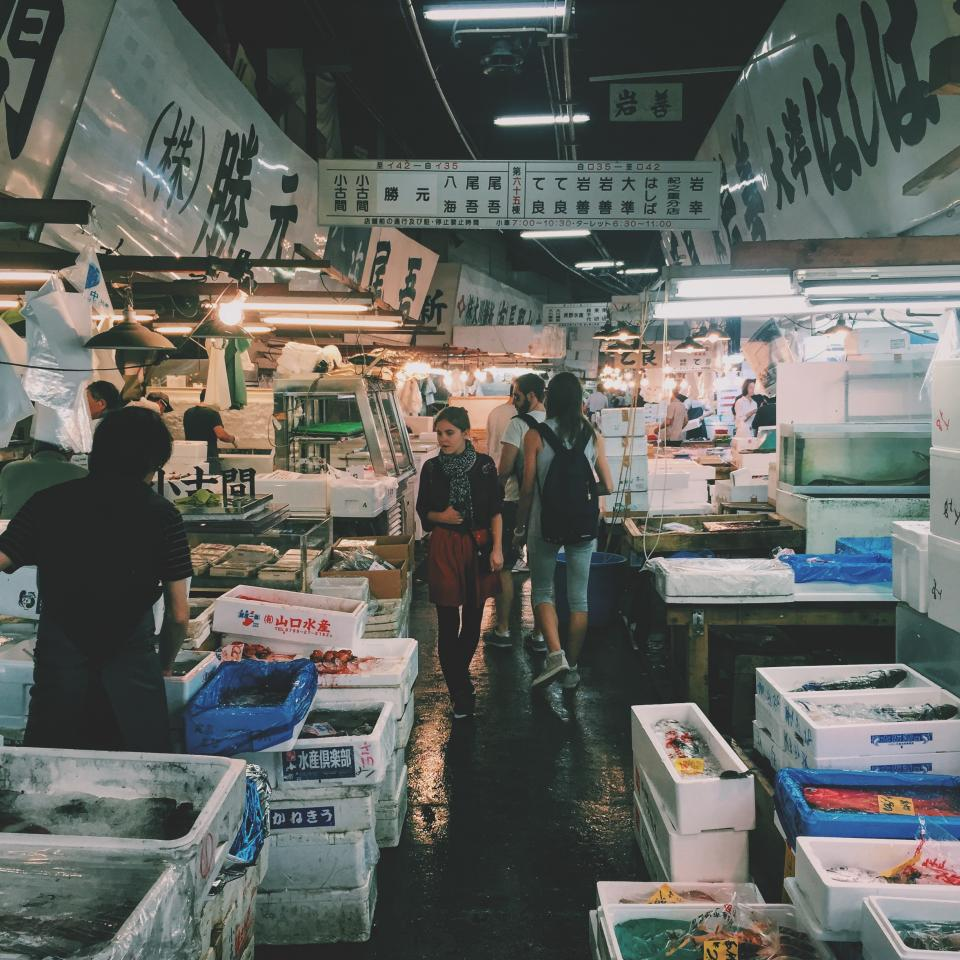 korea, wet, market, meat, seafoods, vendor, people, box