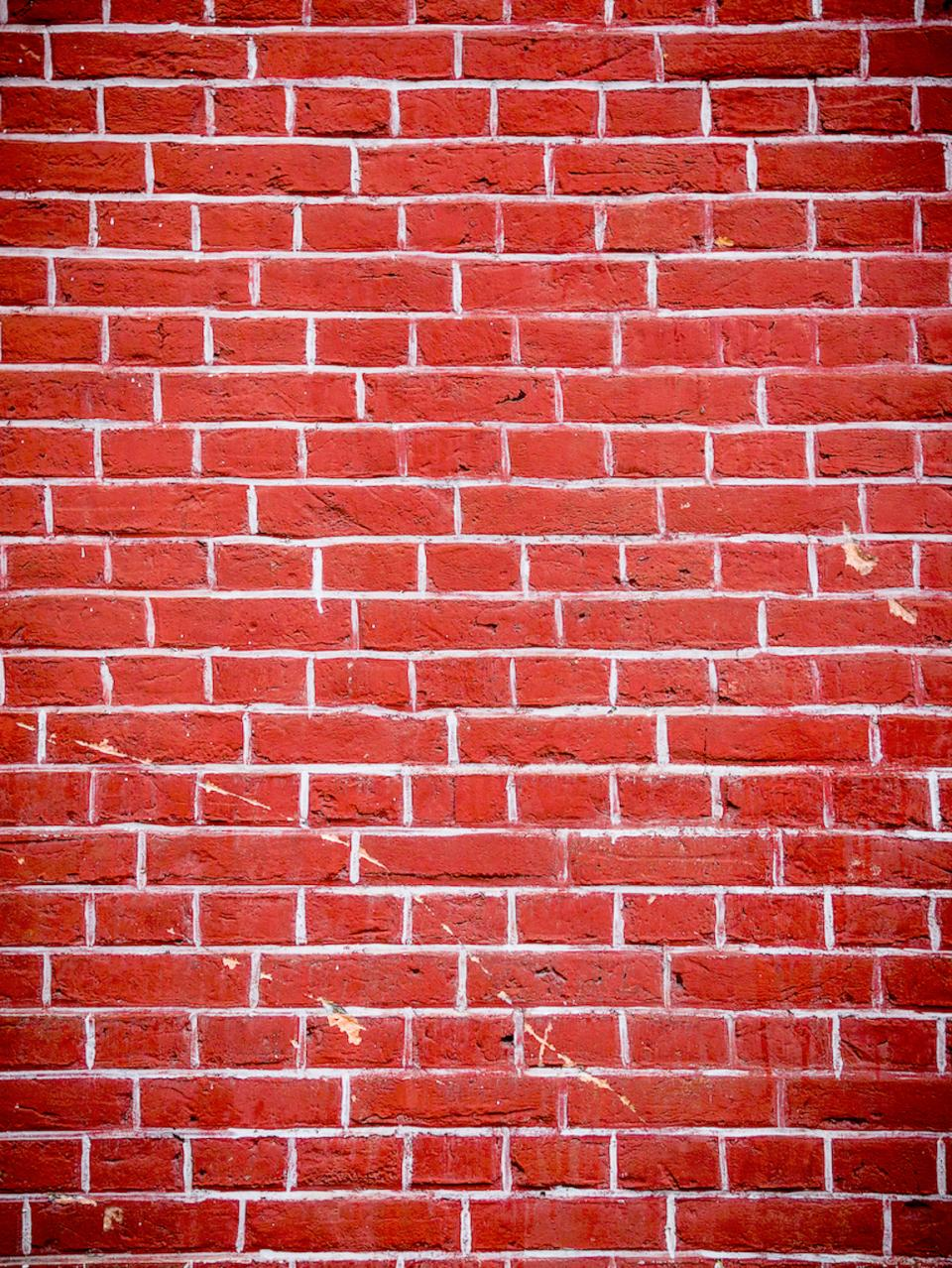 red, wall, bricks, holes, cracks