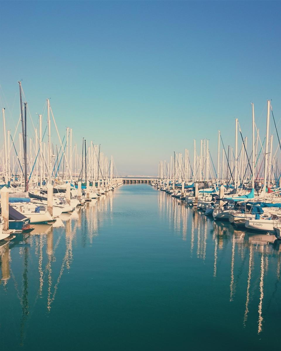 sailboats, boating, marina, harbor, harbour, docks, water, reflection, blue, sky, summer, sunny