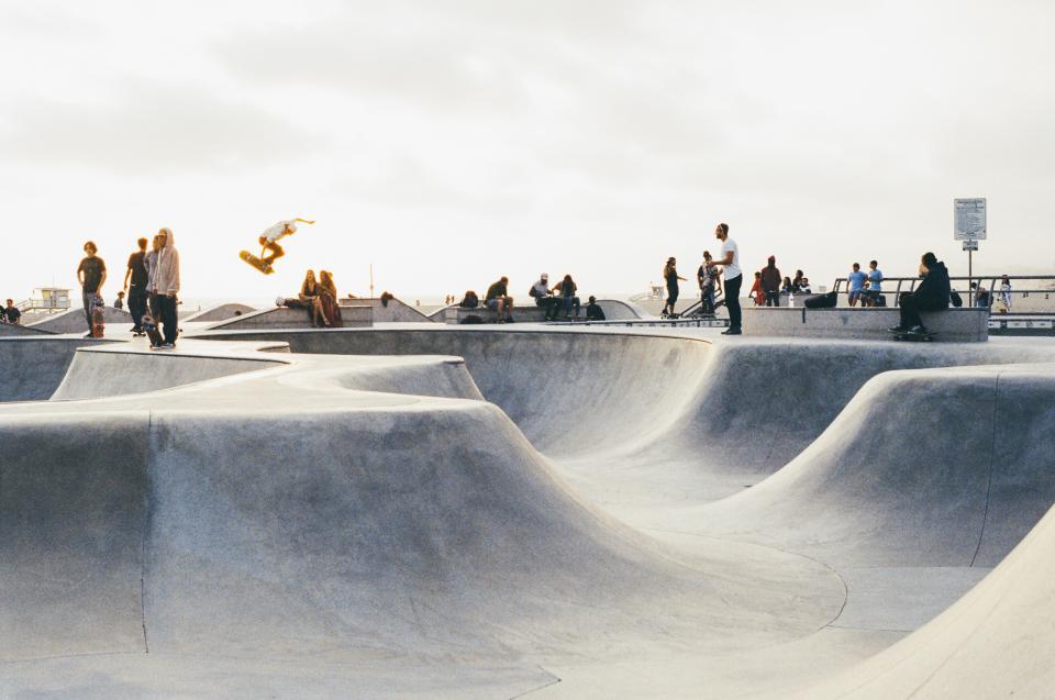 skate park, half-pipes, skateboarding, skaters, tricks, jumps, air, kick flip, rails, people, sports, concrete