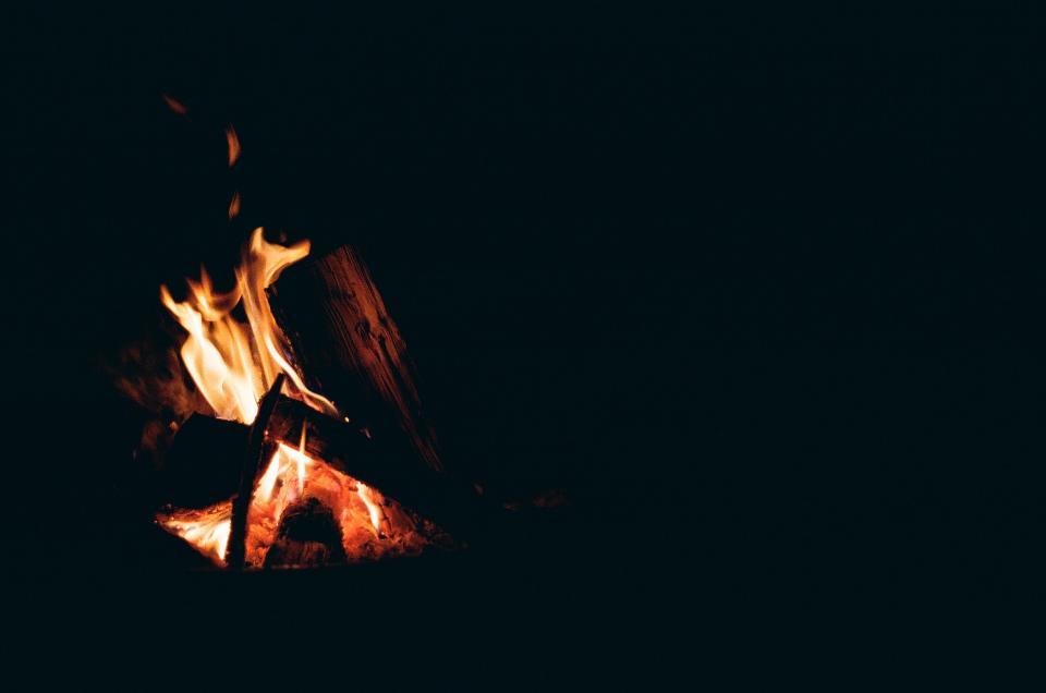fire, bonfire, camping, dark, night, flames