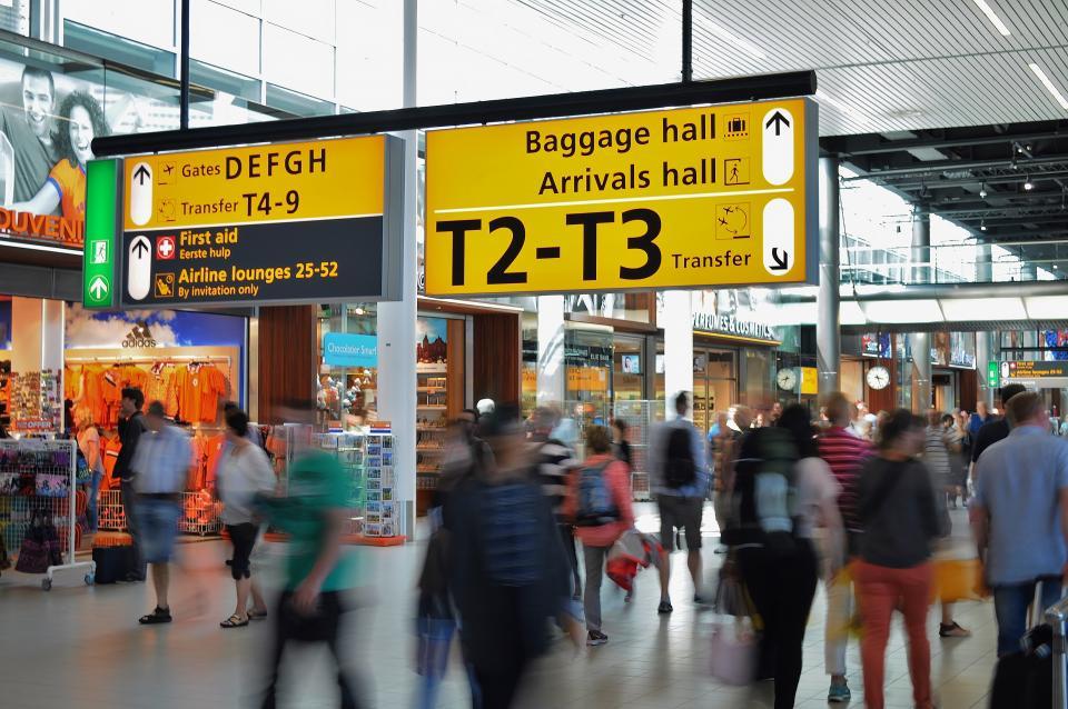airport, terminal, arrivals, transportation, travel, gates, shops, stores, people, crowd