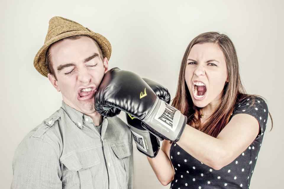 boxing glove fighting punching girl woman guy man fedora hat people