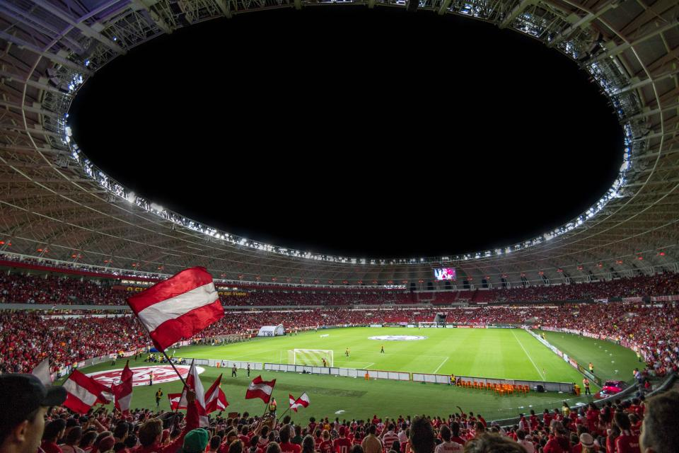 people, flag, cheer, game, sport, court, dome, red, white, grass, green, football, soccer, players, team