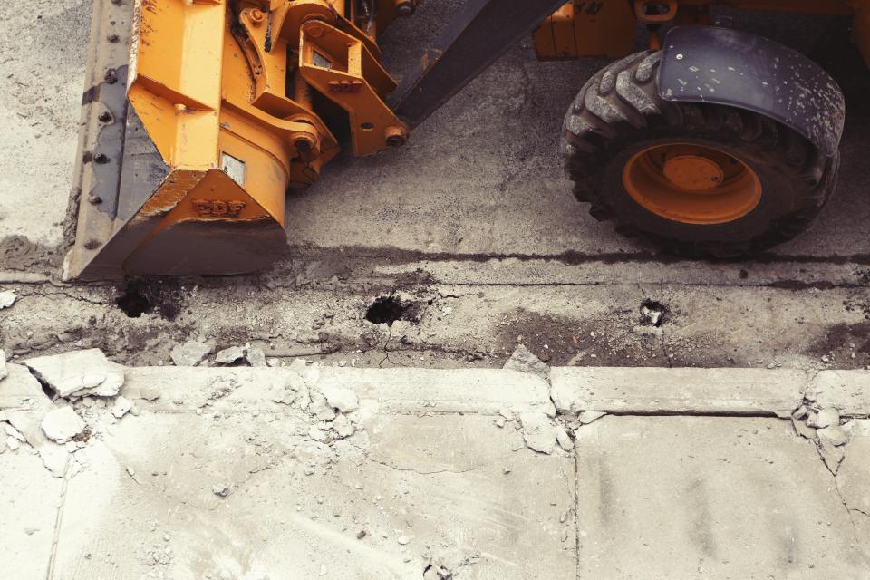 construction, truck, plow, wheels, tires, orange, concrete, street, sidewalk