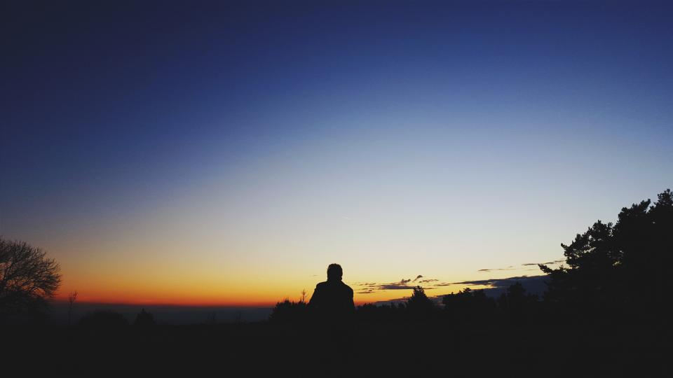 people, man, silhouette, alone, sunset, sad, blue, clouds, sky, trees