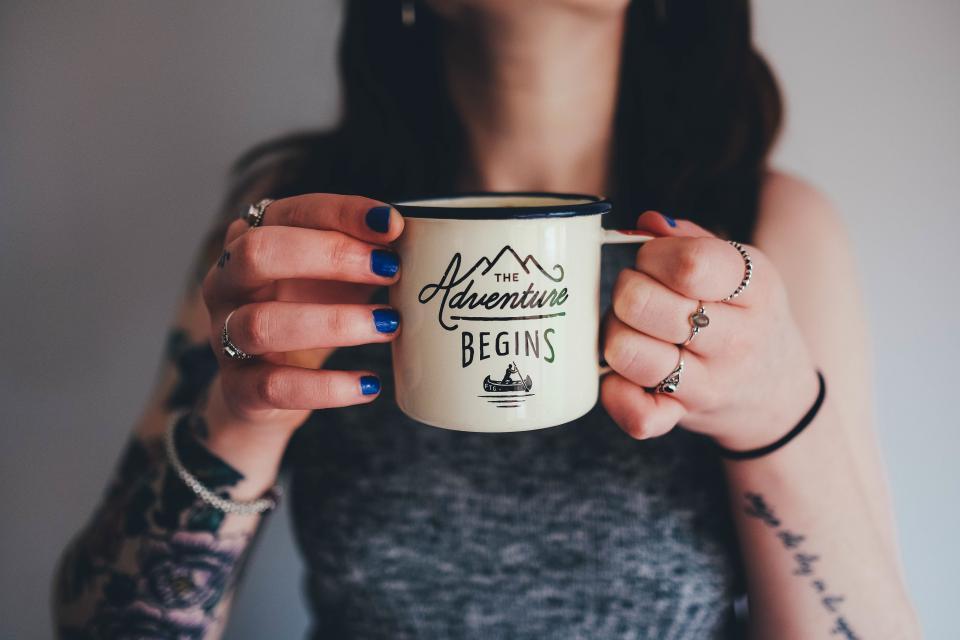 coffee tea cup mug adventure girl woman people hands tattoos
