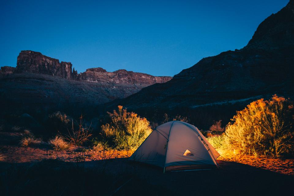 tent, camping, nature, outdoors, night, evening, sky, light, mountains