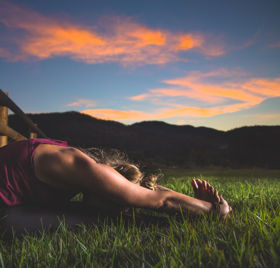 yoga, pose, stretch, health, fitness, working out, exercise, girl, woman, people, grass, nature, outdoors, sunset, dusk, sky, clouds, muscles
