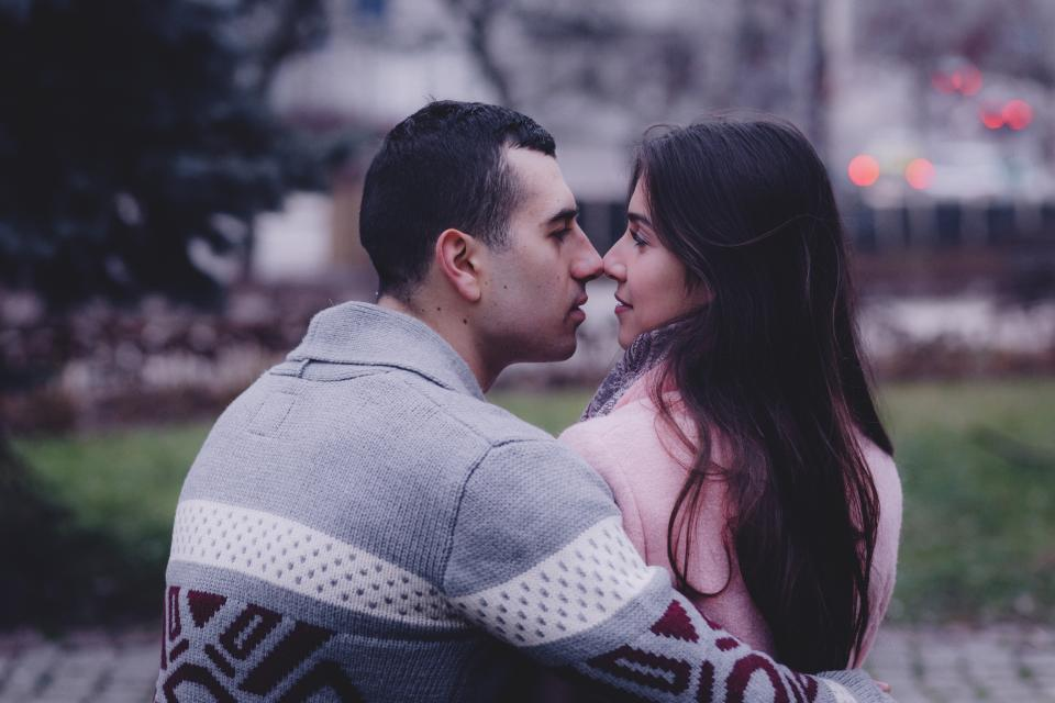 people couple love kiss hug outdoor man woman