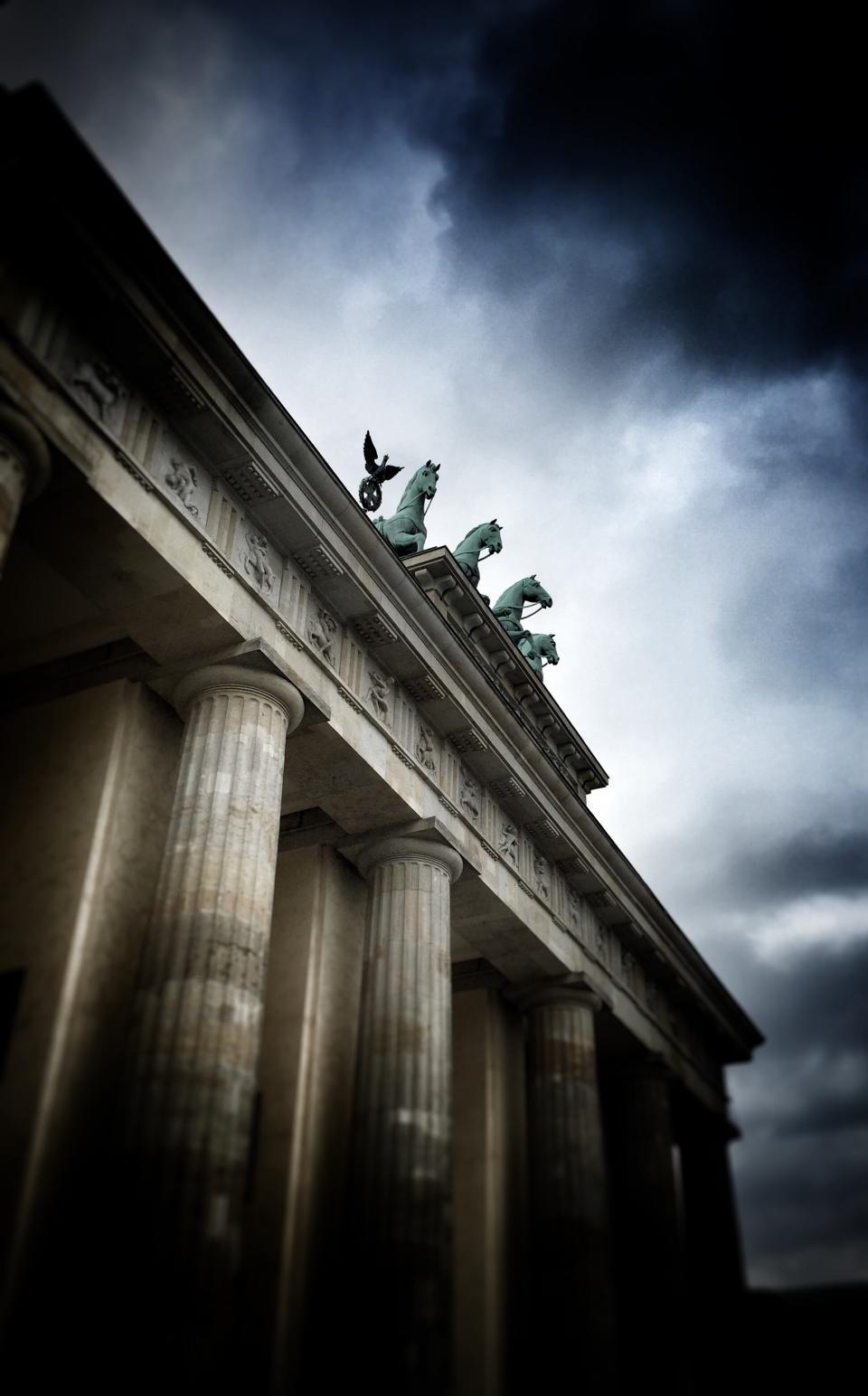 architecture, building, infrastructure, clouds, sky, sculpture, dark