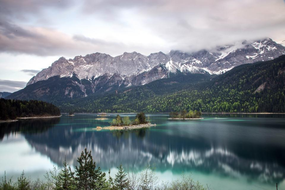 mountain, valley, snow, winter, clouds, sky, landscape, nature, fog, lake, water, trees, plant, forest, reflection