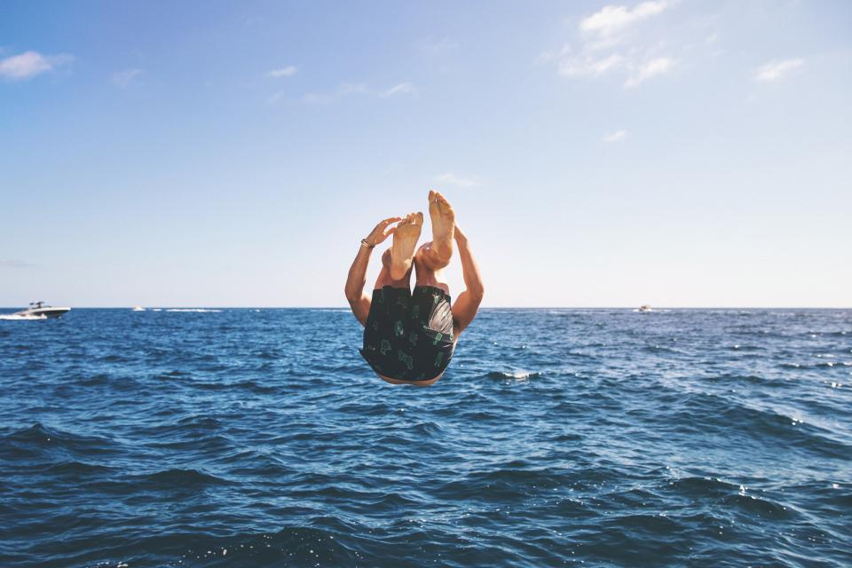 people, man, diving, swimming, sea, ocean, water, wave, nature, blue, sky, boat, sailing