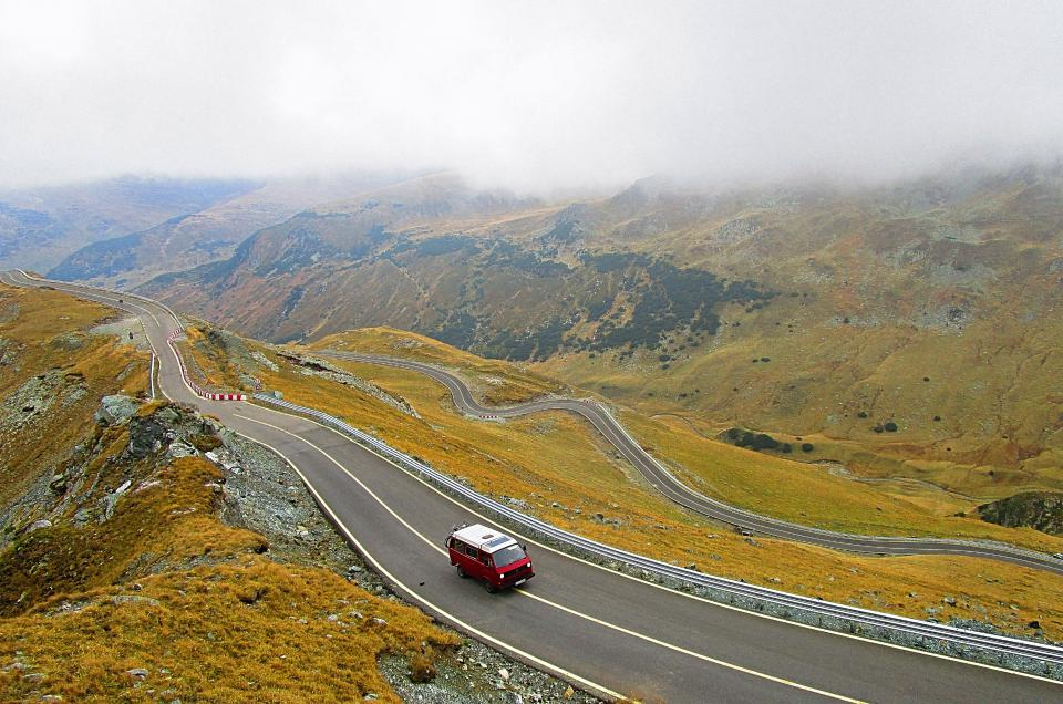 nature, landscape, mountain, clouds, sky, travel, adventure, trek, car, road, transportation, vehicle, fog