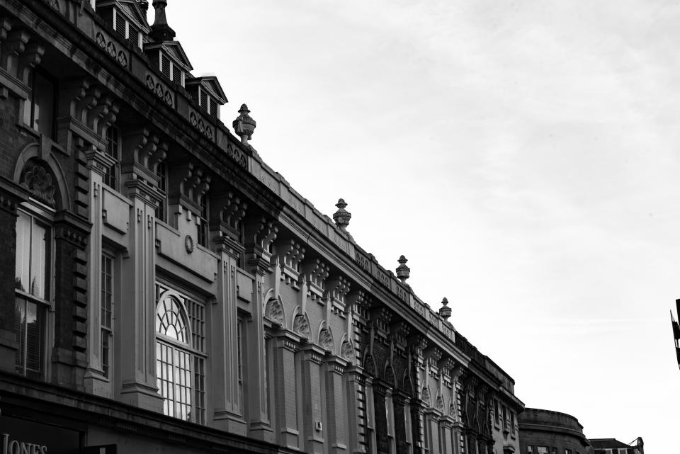 architecture building infrastructure ancient black and white cloud sky